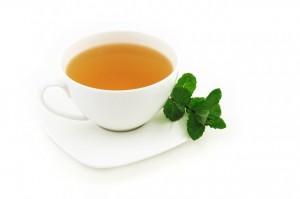 grafika, šálka zeleného čaju